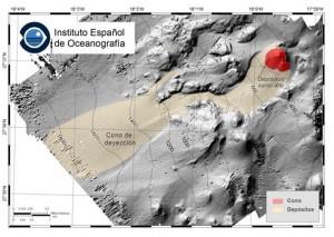 El IEO ha establecido la profundidad de la cima del cono principal de la erupción en 120 metros