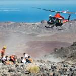Espectacular rescate en el refugio de Altavista en Tenerife por parte helicóptero del GES